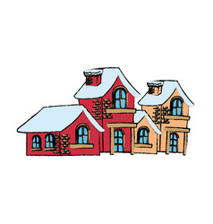 christmas houses covered with snow with chimney vector image