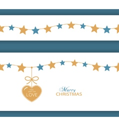 Christmas star border with heart vector