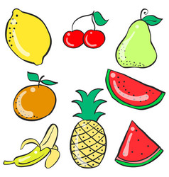 Collection stock of fruit colorful doodles vector