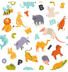 colorful seamless pattern with cute funny animals vector image