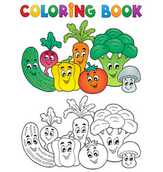 Coloring book vegetable theme 2 vector