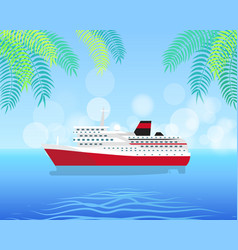 cruise white luxury ship isolated on water vector image