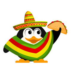 Cute little penguin with a poncho sombrero and a vector
