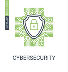 Cybersecurity icon with shield and protection lock vector