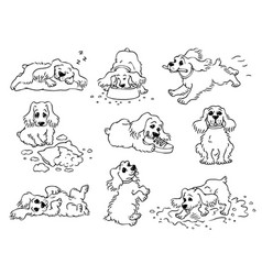 Dog behavior - black and white drawing set cute vector