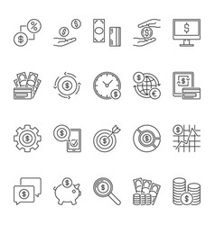 dollar currency icons set - usd money vector image