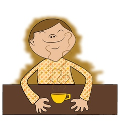 Drinking coffee cartoon vector image