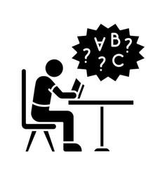 Dyslexia black glyph icon vector