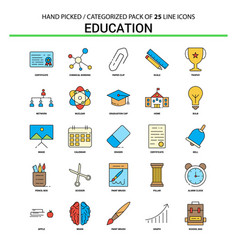 education flat line icon set - business concept vector image