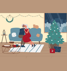 Elderly people spend time together christmas vector