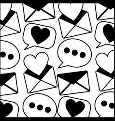 envelope mail with heart and speech bubble pattern vector image