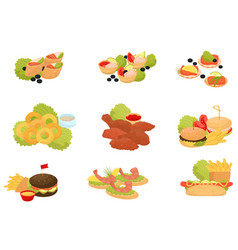 fast food set traditional fast food meals vector image
