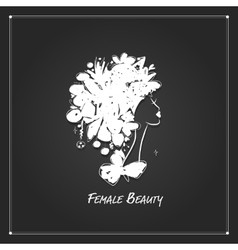 Female portrait white silhouette on black for vector image