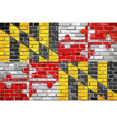Flag of Maryland on a brick wall vector