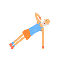 Funny senior character doing side plank elderly vector