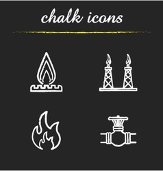 Gas industry chalk icons set vector image