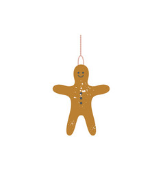 ginger bread man with rope for christmas tree flat vector image