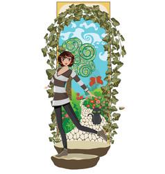 Girl in secret garden vector