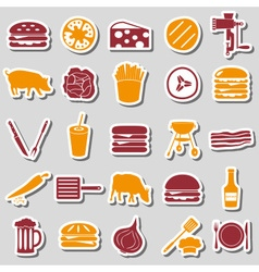 hamburger theme modern simple icons color stickers vector image
