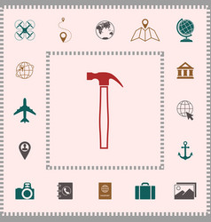 hammer icon symbol elements for your design vector image