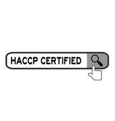 Hand icon over magnifier to find word haccp vector