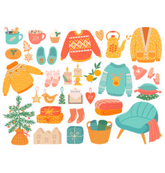 Hygge christmas winter knit clothes and holiday vector