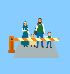 Immigrant people at border concept banner flat vector