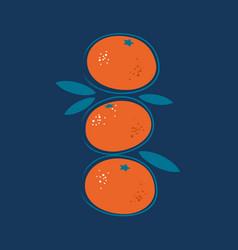 Juicy tangerine simple with leaves vector