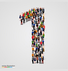 Large group people in number 1 one form vector