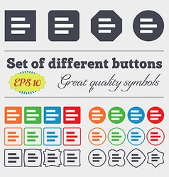 Left-aligned icon sign Big set of colorful diverse vector image