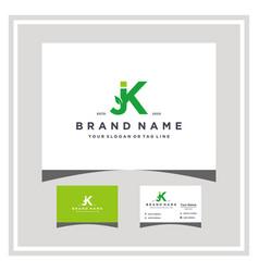 Letter jk leaf logo design and business card vector