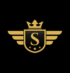 letter s shield wing vector image