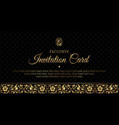 Luxury gold and black invitation card design vector
