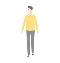 man in yellow sweater and grey trousers isolated vector image
