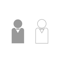 man with bow tie icon grey set vector image