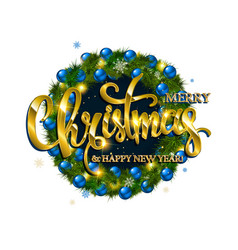 Merry christmas lettering with golden vector