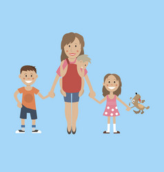 mom son daughter holding hands vector image