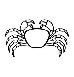 Monochrome line contour with crab vector