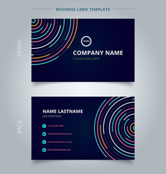 Name card template abstract colorful lines bright vector