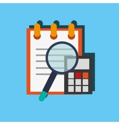 Notepad with calculator and magnifying office vector