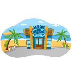oceanfront seafood restaurant on beach coastline vector image