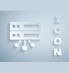 Paper cut server data web hosting icon isolated vector