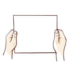 paper sheet empty in human hands sketch mockup vector image