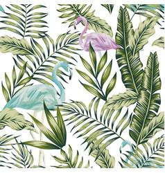 pastel green jungle blue flamingo white background vector image