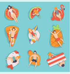 People floating on air mattresses in swimming pool vector