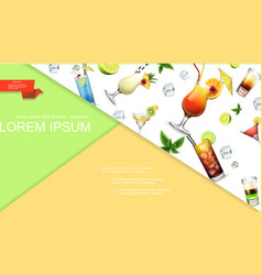 realistic colorful summer cocktails concept vector image