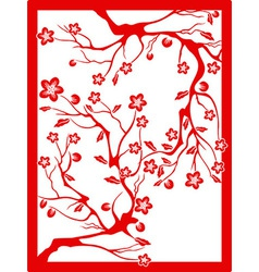 red plum blossom-paper cut vector image