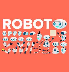 robot animation set futuristic technology vector image