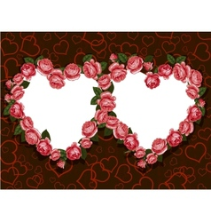rose flowers two hearts frame pattern vector image