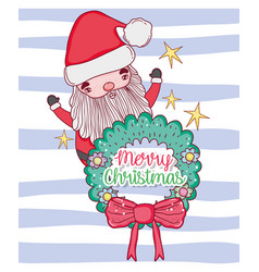 Santa claus with garland and ribbon bow vector